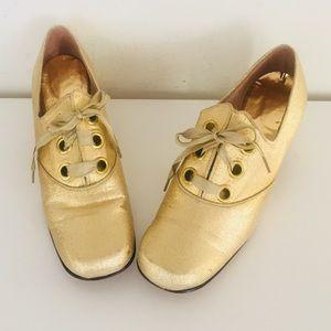 Vintage Gold Mary Janes Chunky Heels 7.5 N